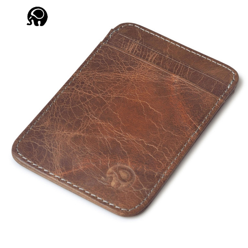 2017 Brand Hot Sell Men Genuine Leather Purse Business Casual Credit Card ID Holder Money Card Holder Brown Cover on Passport j quinn smart men zipper wallet portfolio cow leather business hasp men s purse credit card holder passport soft purse for man