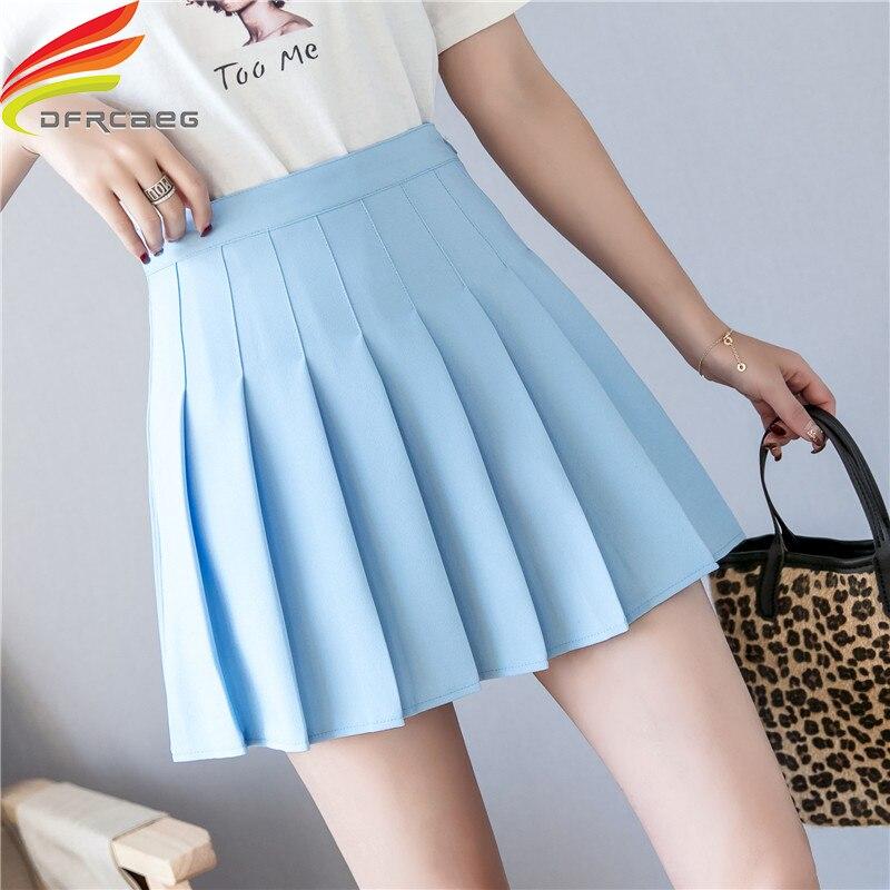 Плиссированная мини-юбка А-силуэта с высокой талией, весна-лето 2020, юбки розового, черного, небесно-голубого и белого цветов, Милая юбка высо...