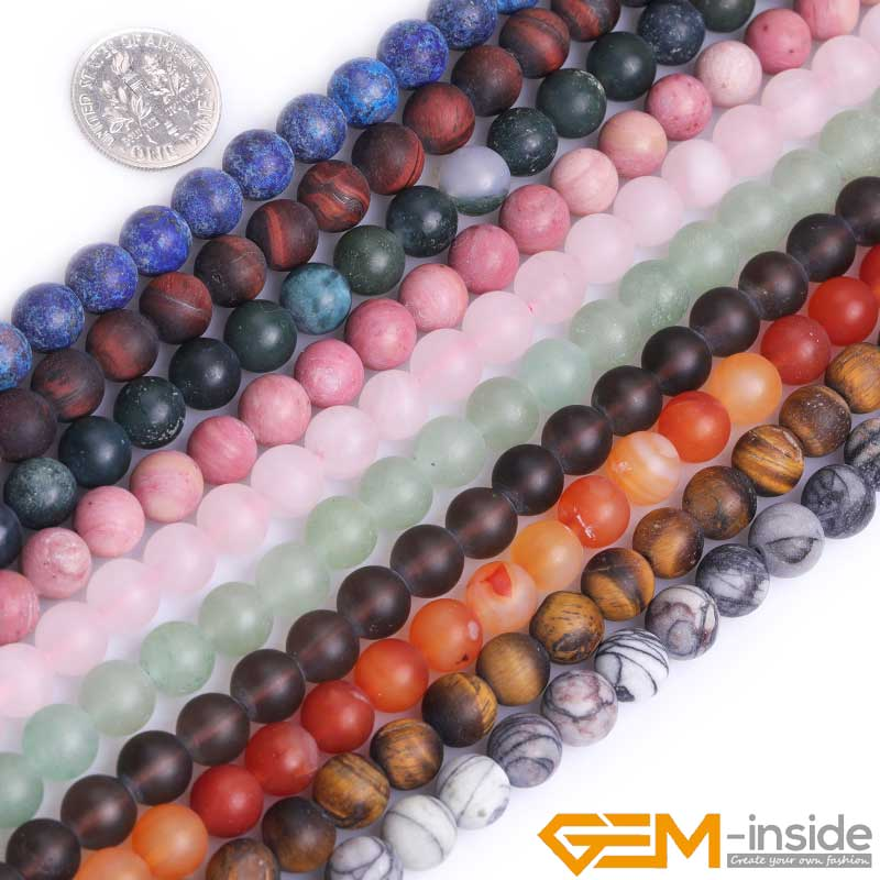 Natural Round Green Agate Frost Matte Stone Beads For Jewelry Making Strand 15/'/'