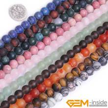 Natural Semi-Precious Gem Stones Round Beads For Jewelry Making Strand 15