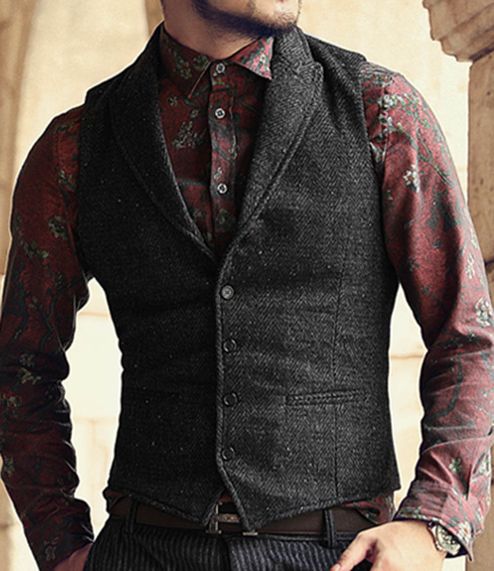 Mens Suit Vest Lapel V Neck Wool Herringbone Casual Formal Business Vest Waistcoat Groomman For Wedding Green/Black/Brown