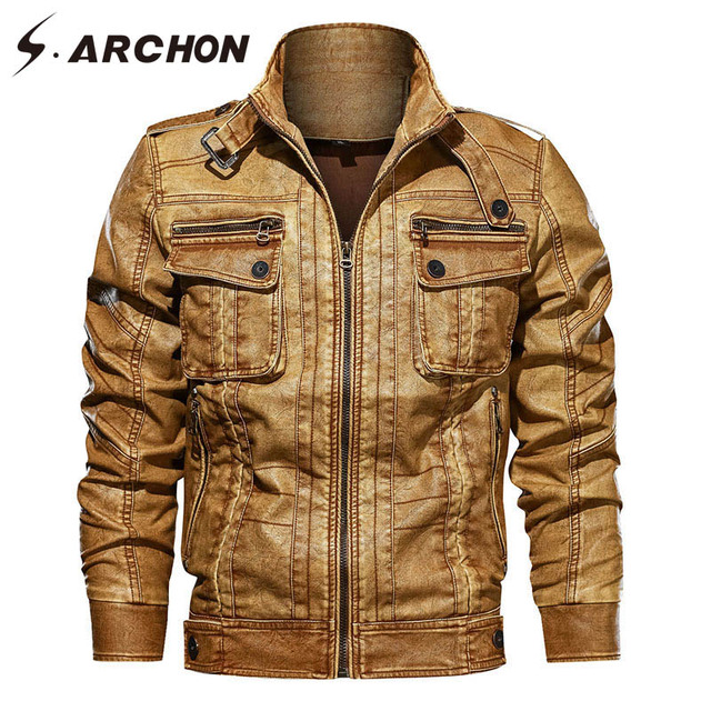 S.ARCHON Spring PU LeatherTactical  Jackets Men Bomber Thermal Warm Pilot Jacket Causal Windbreaker Military Motorcycle Coat