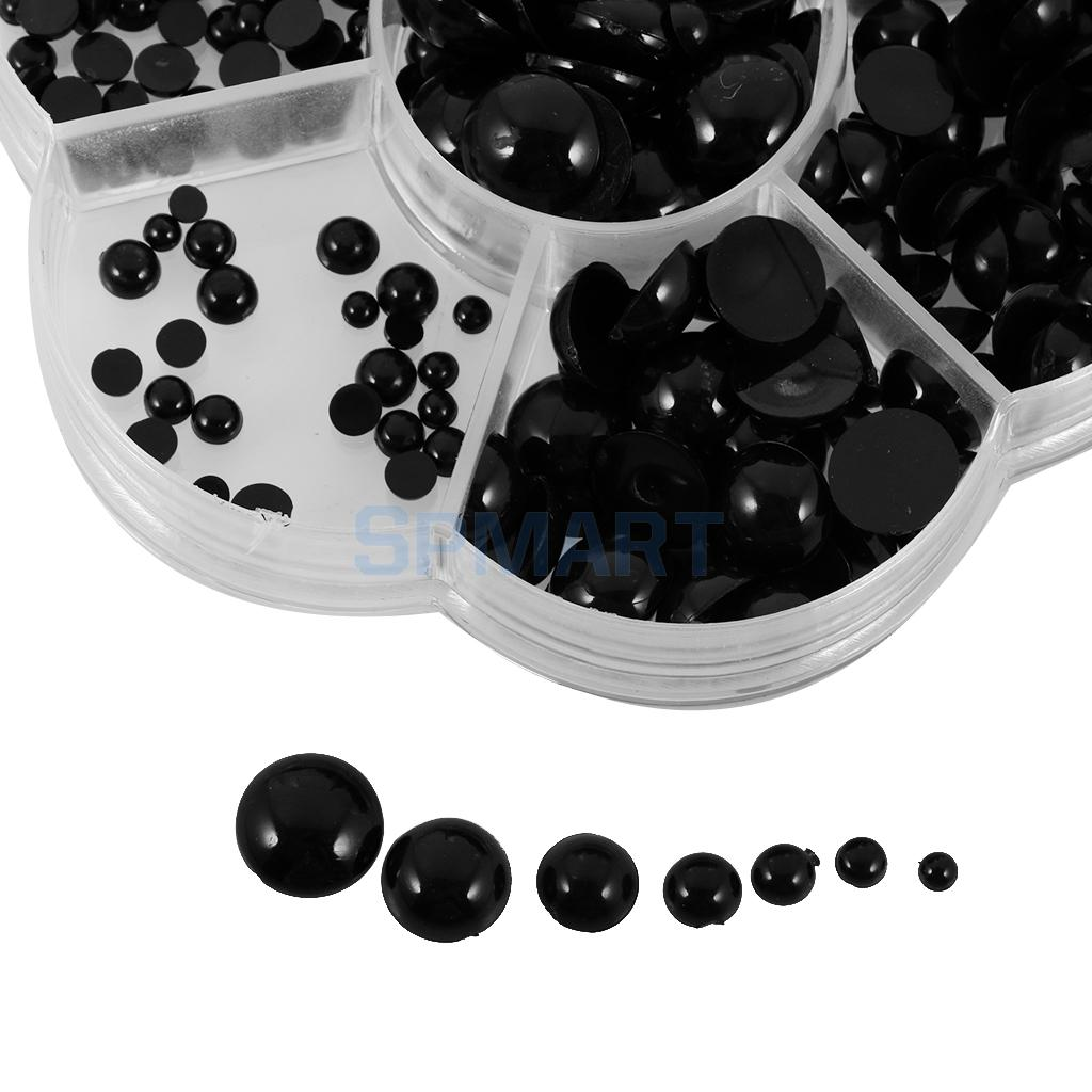 510pcs 3-12mm Assorted Size Round Black Flat Doll Eyes for Doll Animal Puppet DIY Making Kids Craft