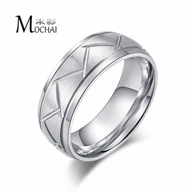 2019 Hot New Stainless Steel Men's Brushed Ring Diagonal Curved Black Color And Silver Color Ring Holiday Party Gift  ZK40