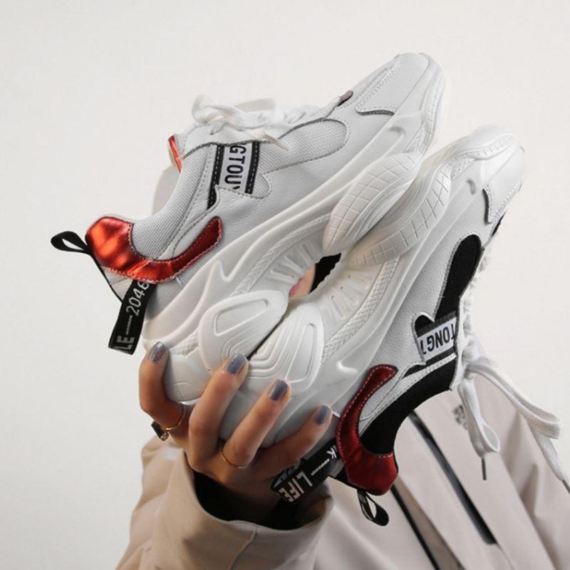 À Femmes Véritable Vulcanisées 35 blanc Razamaza Baskets En Chaussures Mesh Lacets Noir Fond Épais 39 Décontractées Taille Respirant Cuir 3q5AS4cRjL