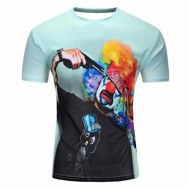 Moda 2018 nueva camiseta Cool hombres mujeres camiseta 3d estampado Suicide  clown manga corta verano 334ccd0f1e1