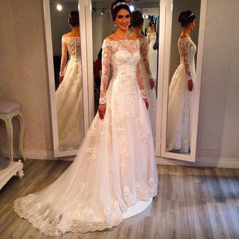 46ddf0f9aec81 Una línea vestido de boda de manga larga 2015 cuello barco vestidos de  noiva tribunal tren encaje blanco vestidos de novia vestidos en Vestidos de  novia de ...