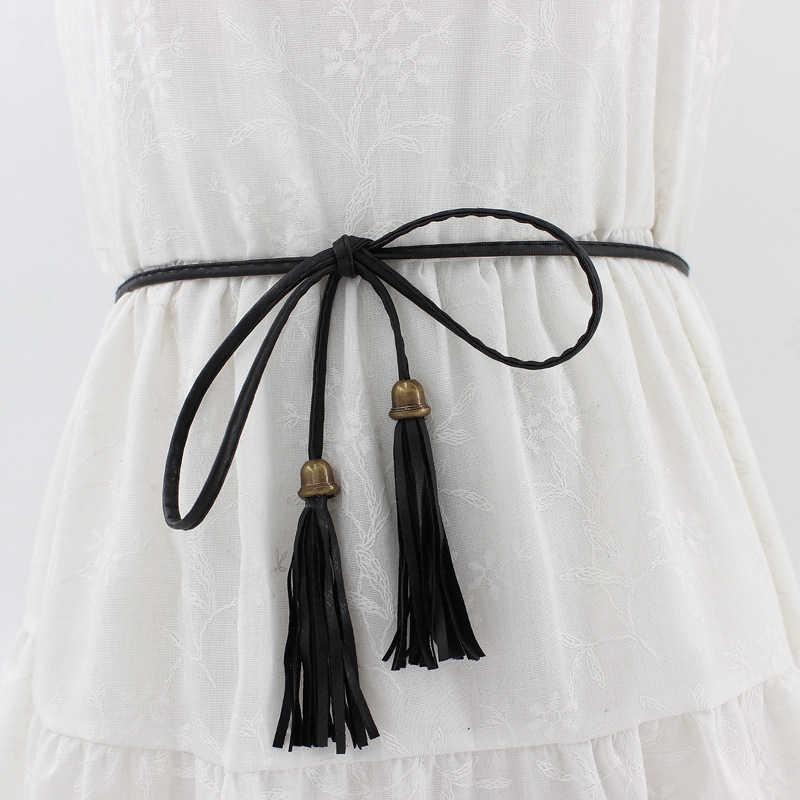女性ドレスストラップシン Pu レザーベルトタッセルフリンジ女性のための黒、白黄色のウエストベルト