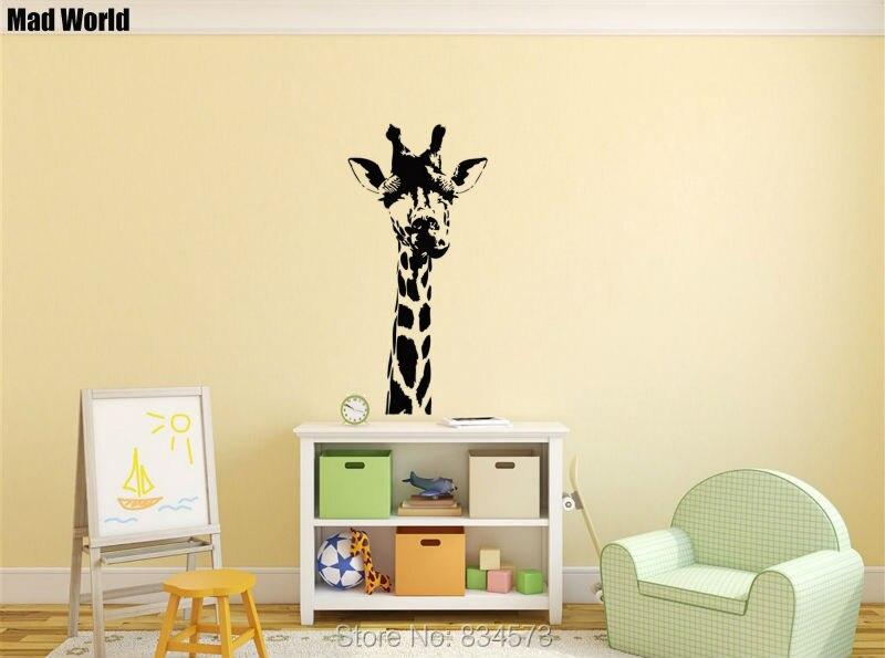 Mad World Giraffe Head Animals Jungle Safari Wall Art Stickers Wall Decal  Home DIY Decoration