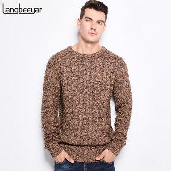 c33c7c7de25f0 Новинка 2019, осенне-зимние модные мужские свитера, теплый плотный ...