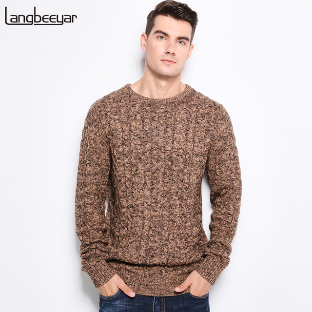 9ad0611e5 2019 New Autumn Winter Fashion Men s Sweaters Warm Thick Slim Fit Men  Pullover 100% Cotton Trend Knitted Jacquard Sweater Men