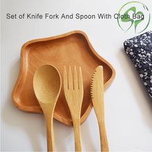 3Pcs/set Bamboo Dinnerware Set Wooden Fork Knife Soup Teaspoon Tableware Cutlery fruit fork picks Kitchen Cooking Tools
