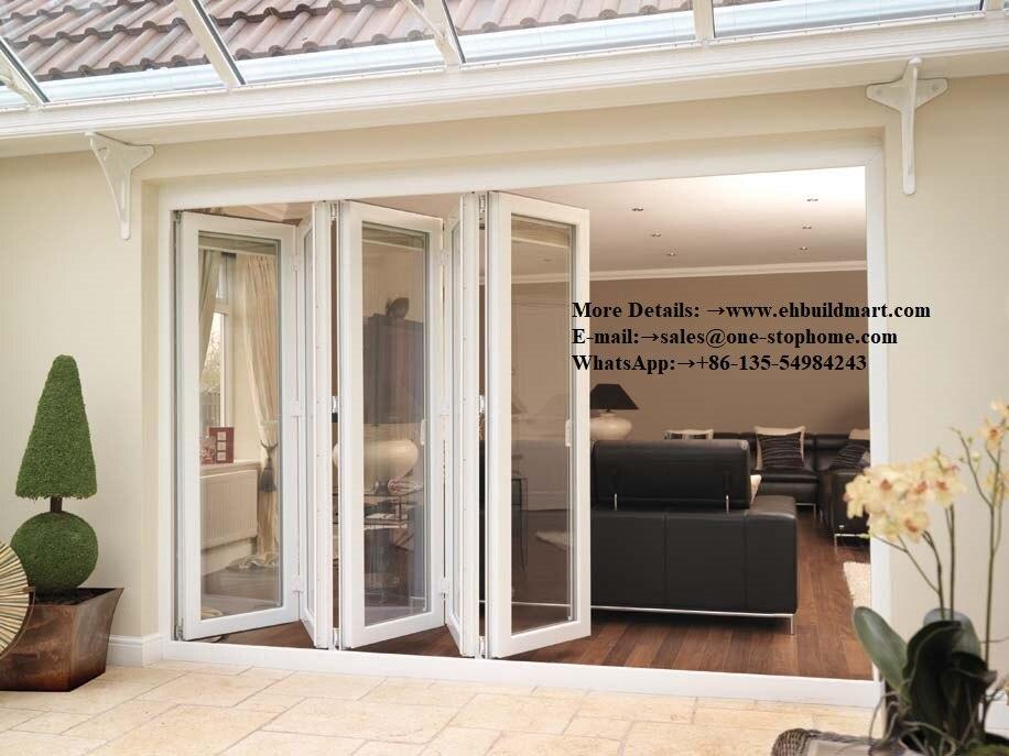 Porte en aluminium bi-pliante portes en aluminium insonorisées à rupture thermique avec revêtement en poudre, portes pliantes bi, portes de patio extérieures
