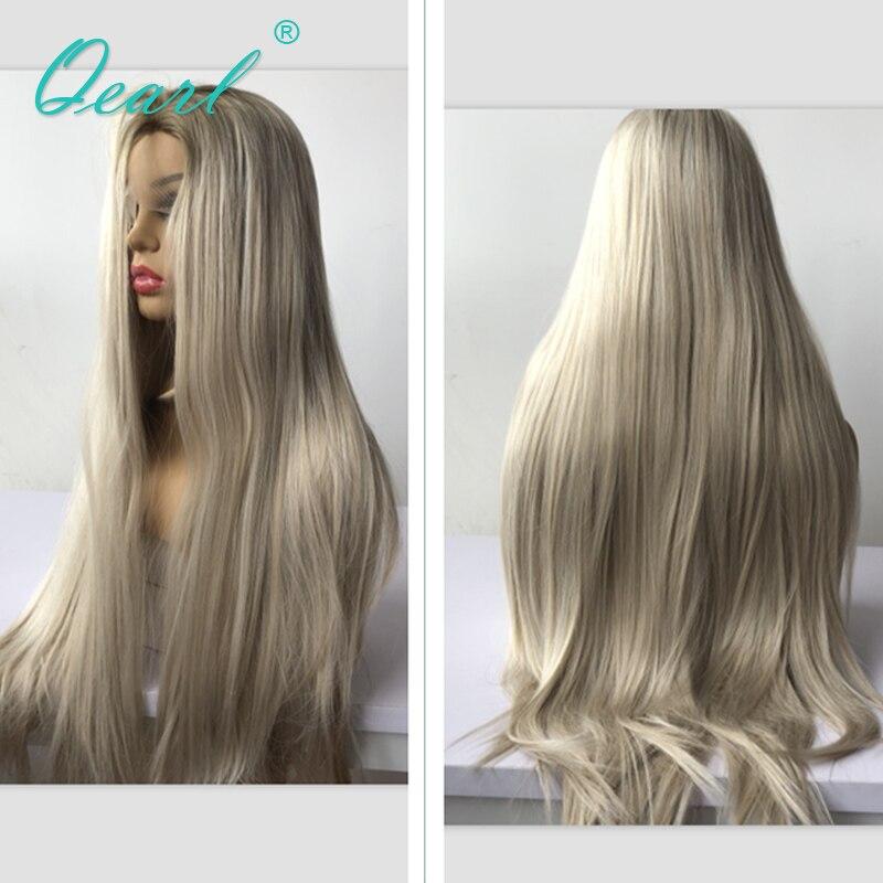 Longs Cheveux Humains Avant de Lacet Perruque 13x4 Ombre 2/60 Couleur Brésilien Vierge Cheveux Raides Blond Avant de Lacet Perruques 150/180 Densité Qearl