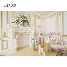 Laeacco Palace Luxury Interior Fireplace Armchair Photography Backgrounds Customized Photographic Backdrops For Photo Studio