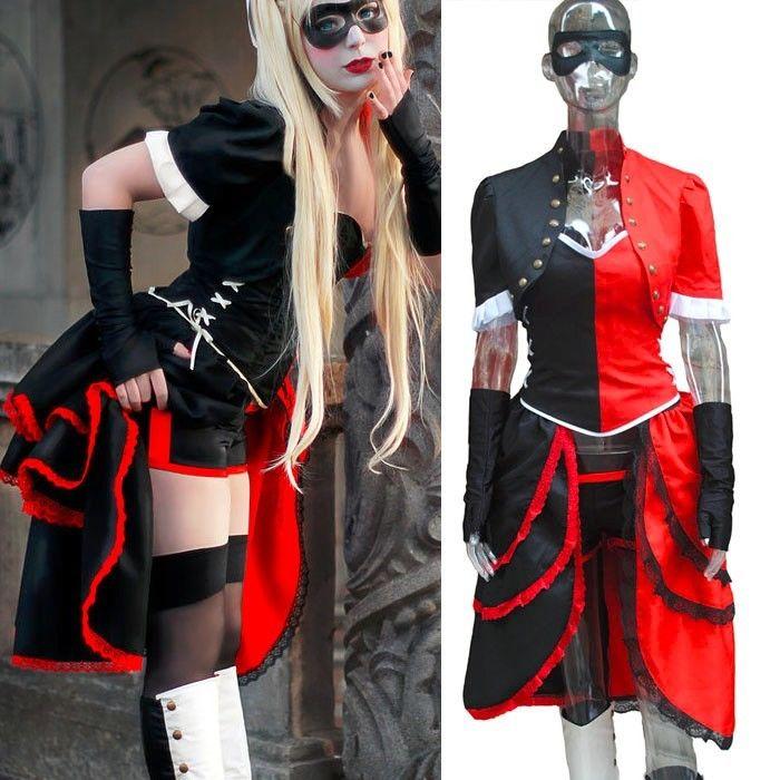 Costume de Cosplay Batman Arkham ville d'asile Harley Quinn sur mesure pour femmes