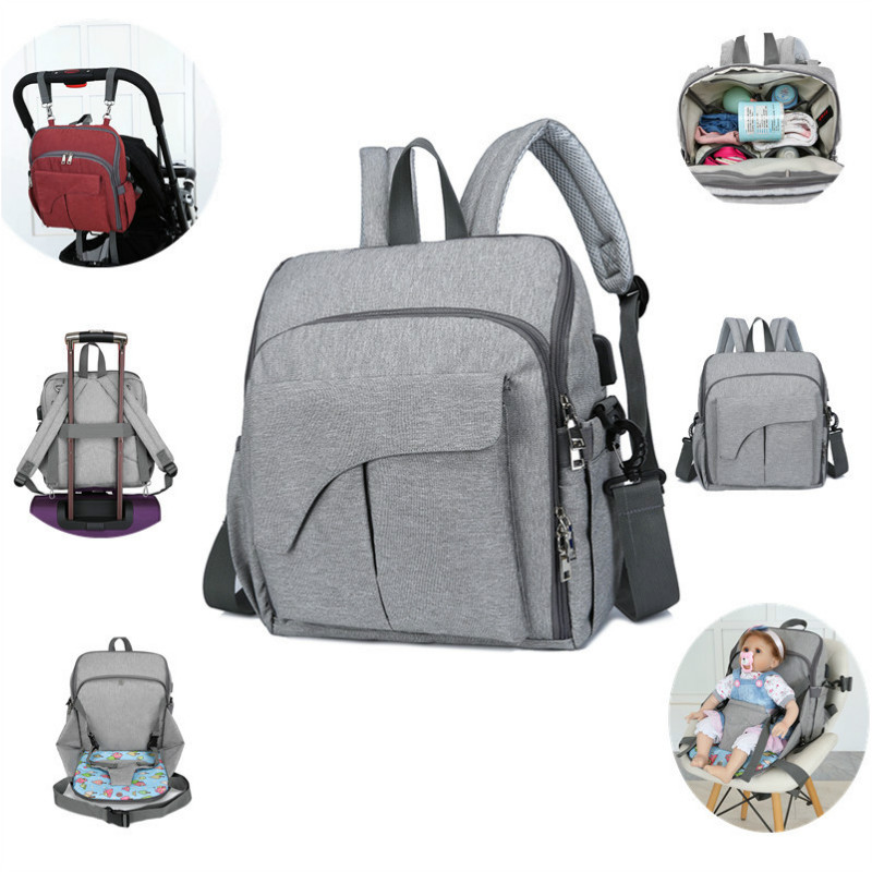 2 IN 1 Portable Diaper Bag USB Baby Nappy Bag Baby Dining Seat Chair Travel Maternity Bag Daddy Mummy Backpack Diaper Bags