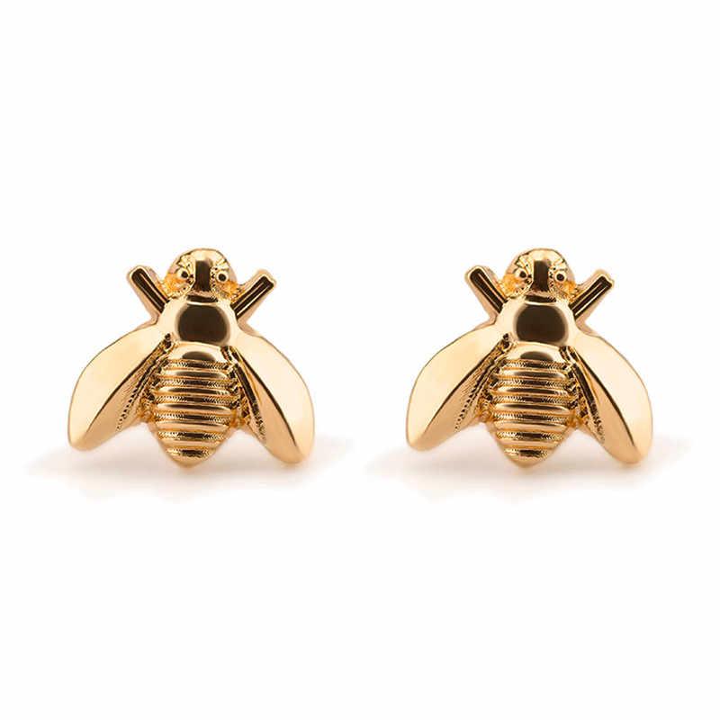 df032cd83 Linnor Lovely Gold Metal Bee Stud Earring Novelty Insect Ear Cuff Brincos  for Women Jewellery oorbellen