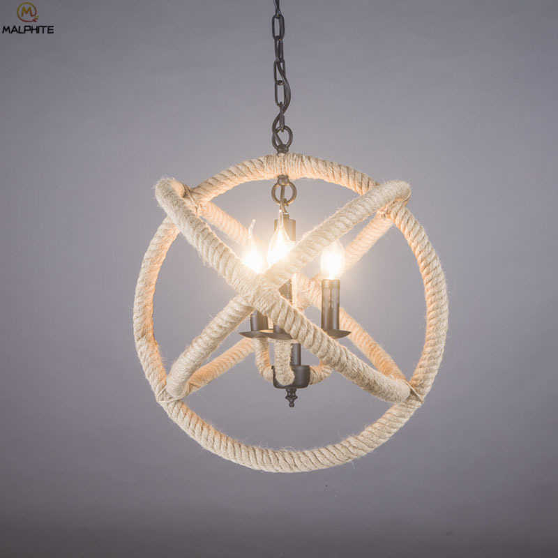 Nordic Ретро пеньковая веревка Подвесные светильники подвеска с шаром светильник для специального освещения комнатная Подвесная лампа светильник