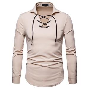 Image 3 - Scottish Jacobite Ghillie Kilt Shirt Men Chemise Homme 2018 Fashion Slim Fit Solid Color Long Sleeve Tuxedo Dress Shirt Mens Top