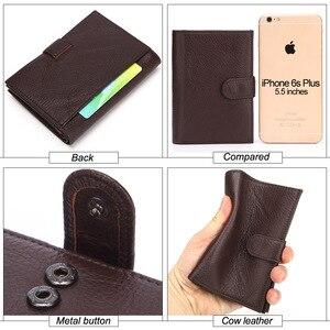 Image 5 - Misfits carteira de couro genuíno, carteira masculina com espaço para passaporte, alta capacidade, com compartimento para cartão e bolsa para moedas