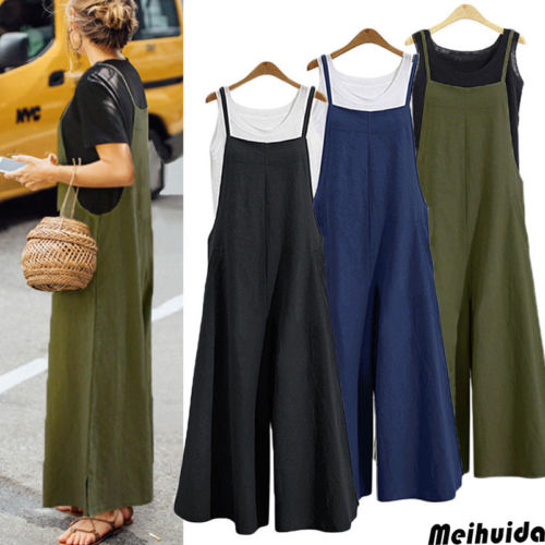 Women Cotton Overalls Jumpsuit Strap Rompers Dungaree Oversized Trousers Women Solid Wide Leg Halter Cotton Jumpsuits Clothing