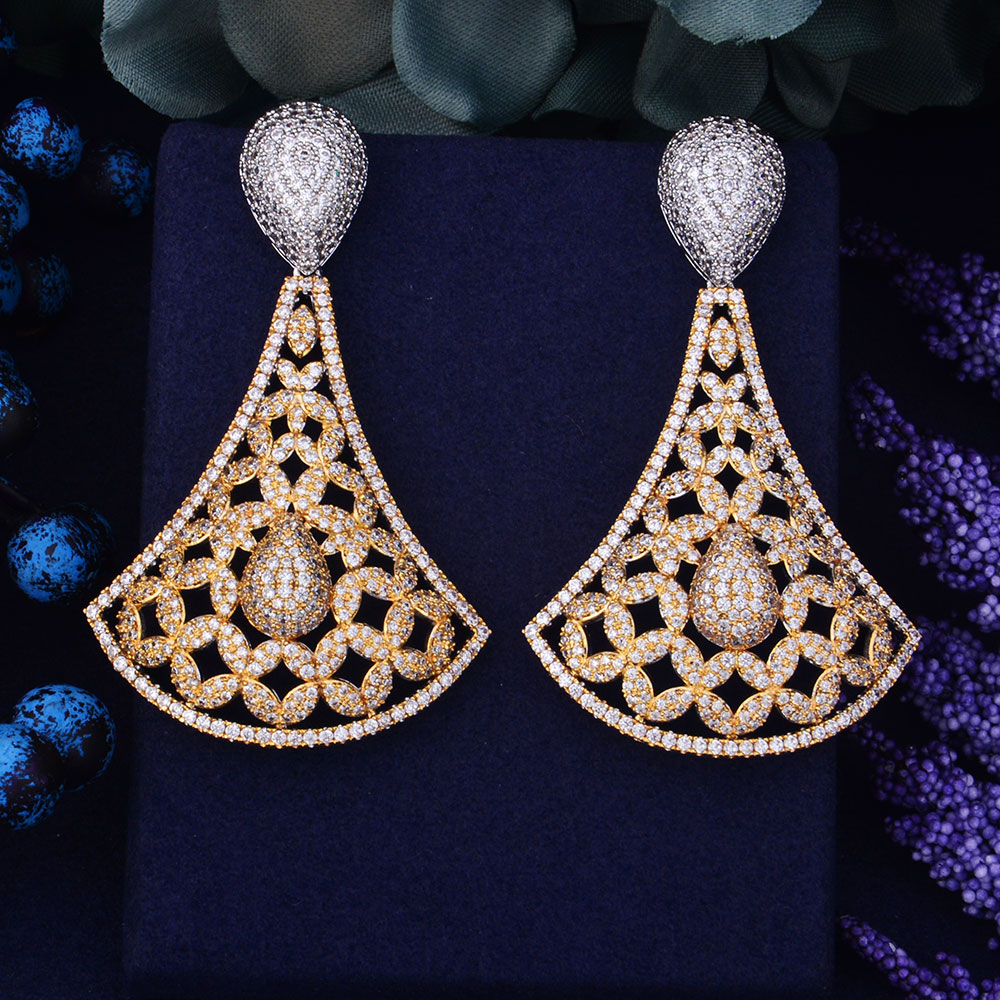 GODK 75mm New Arrival Luxury Trendy Flower Design Full Mirco Cubic Zirconium Naija Wedding Women Earring Fashion Jewelry