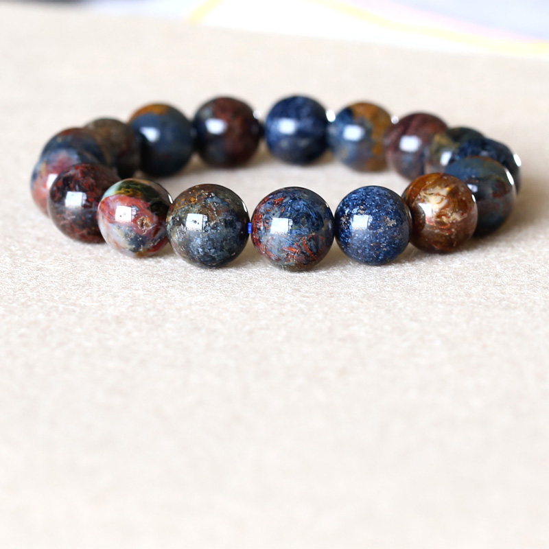 Genuine Natural Gold Blue Pietersite Namibia Stretch Men's Bracelet Round Beads 12mm 05046 недорого