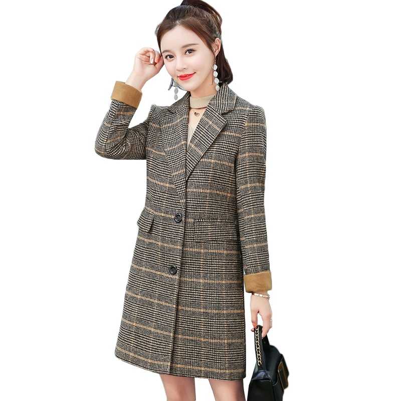 Autumn Winter Suit Blazer Women Woolen Jackets 2019 Fashion Plaid Medium Long Work Office Lady Long Sleeve Blazer Outerwear 550