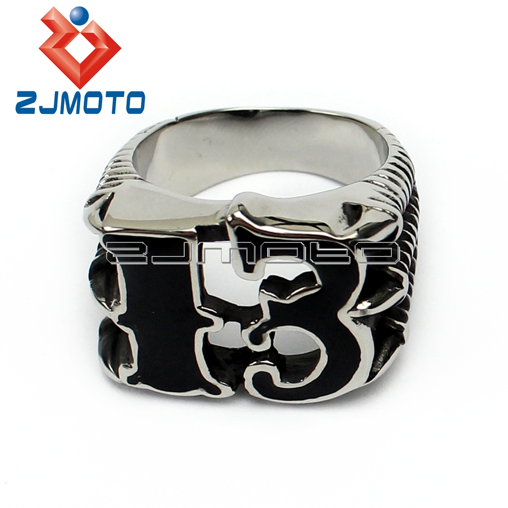 Motorcycle gloves metal - Motorcycle Stainless Steel Ring Number 13 Men S Ring Fashion Gothic Punk Ring Vintage Jewelry Size 10 12