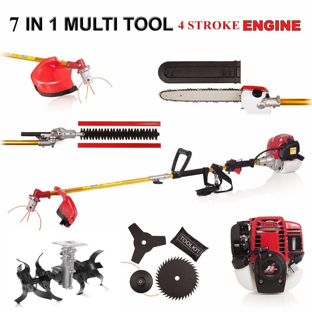 7 In 1 Multi Tool Brush Cutter 4 Stroke GX35 Engine Petrol Strimmer Grass Cutter Tree Pruner Hedge Trimmer With Garden Tiller