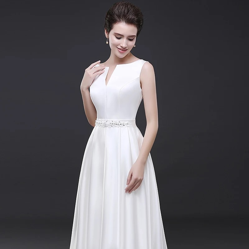 Holievery Beaded Waist Satin A Line Wedding Dresses 2019 Boat Neck Long Wedding Gowns Lace Up Bridal Dress Floor Length