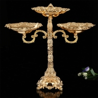 European retro metal threecandlestick gold tape plate Homestyle Hotel fruit wedding romantic decoration
