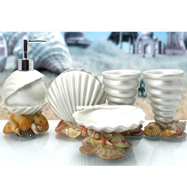 White Lovely Seashell Bathroom Sets Ocean Conch Lotion Bottle Scallops Toothbrush Holder Spiral Shells Tumbler Cute