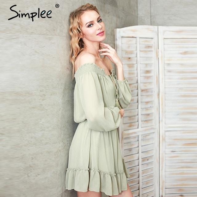 Simplee Ruffle fringe sexy dress vestido de festa Short chifon vintage dress women Off shoulder long sleeve beach summer dress