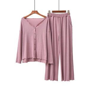 Image 4 - 2020 jesień nowe panie piżamy zestaw komfort jednolity kolor kobiety Sexy dekolt w serek z Homewear 2 sztuk z długim rękawem + spodnie odzież na co dzień