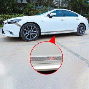 Image 2 - Auto Aufkleber Laser 5D Carbon Faser Gummi Styling Tür Sill Protector Waren Für KIA Audi Mazda Ford Hyundai etc Zubehör