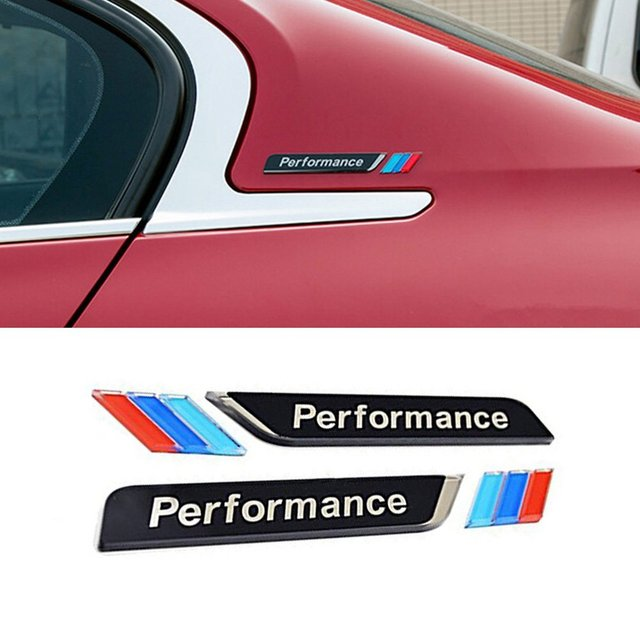 Cogeek 1 pair 3d m performance car window stickers emblems decorations car fender decals for 3