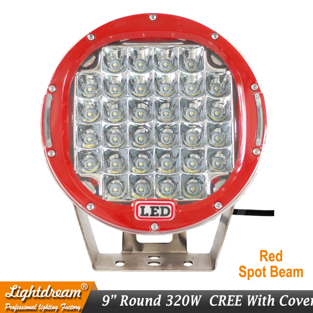 "320w 32Leds Red Black Led driving light 9""inch led off road light 12V 24V High Power led lights for SUV ATV UTV 4X4 4wd car x1pc"