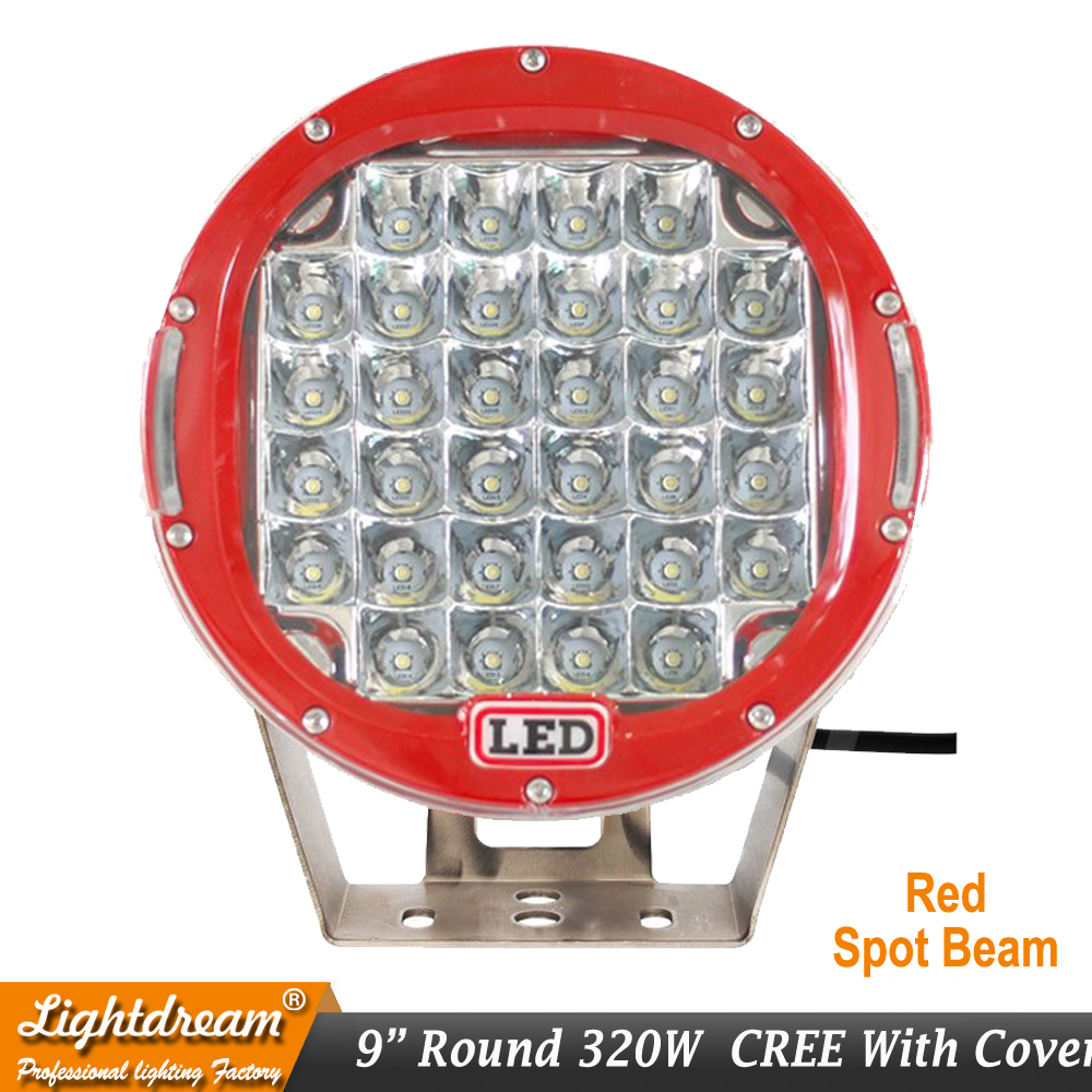 czg 51wr 4x4 7 inch round 51w led work light led driving light 7 led auto lamp led off road light for jeep truck suv atv utv 320w 9inch Red Black round led driving light 9 led off road light Super power led work light for SUV ATV UTV 4X4 4wd car x1pc