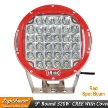320w 9inch Red Black round led driving light 9″ led off road light Super power led work light for SUV ATV UTV 4X4 4wd car x1pc