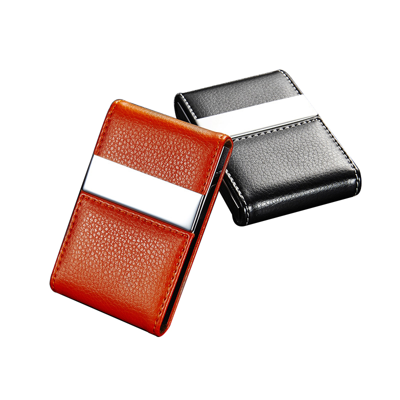 5PCS/Lot Wholesale PU leather stainless steel stainless steel men card holde women metal bank name business card case card box