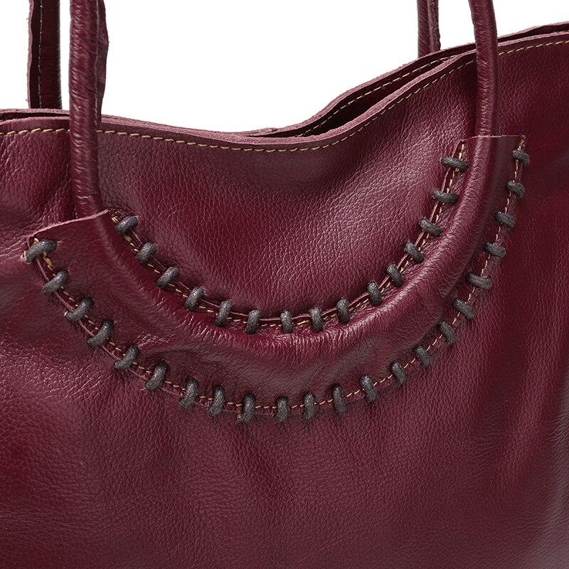 Nuleez Italian Leather Bag Big Tote Strap Handmade Soft Women Genuine Leather Shoulder Handbags Luxury Red Brown Bag Female 1205
