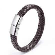 MINCN Punk Men Jewelry Black Brown Braided Leather Bracelet Stainless Steel Magnetic Clasp Fashion Bracelets 18.5 /20.5 / 22cm