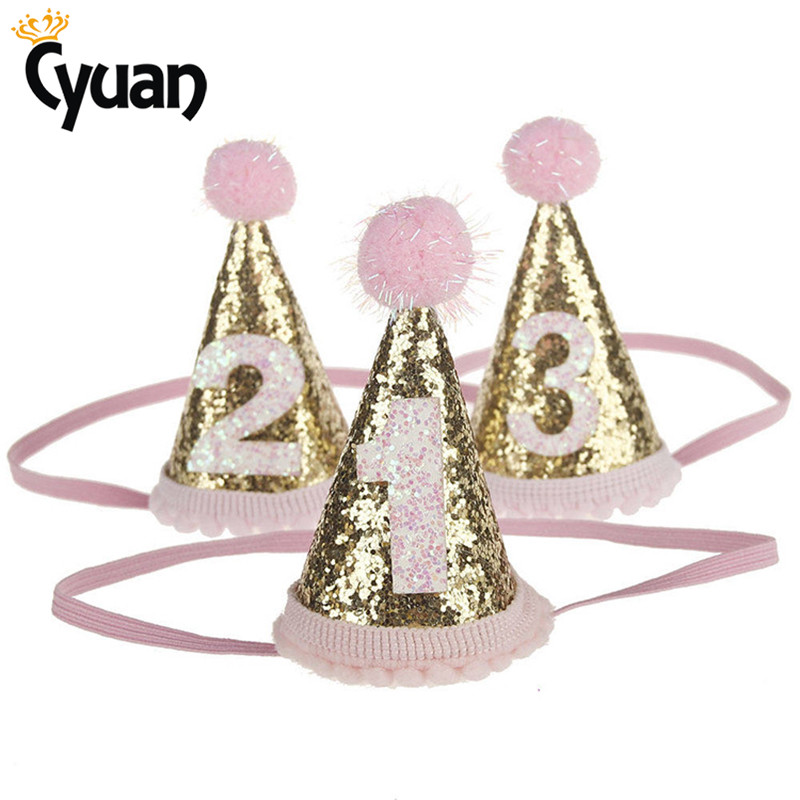 1pc Girl Gold Pink First Birthday Hat Boy Blue Silver Priness Crown Number 1st 2 3 Year Old Party Hat Glitter Birthday Headband