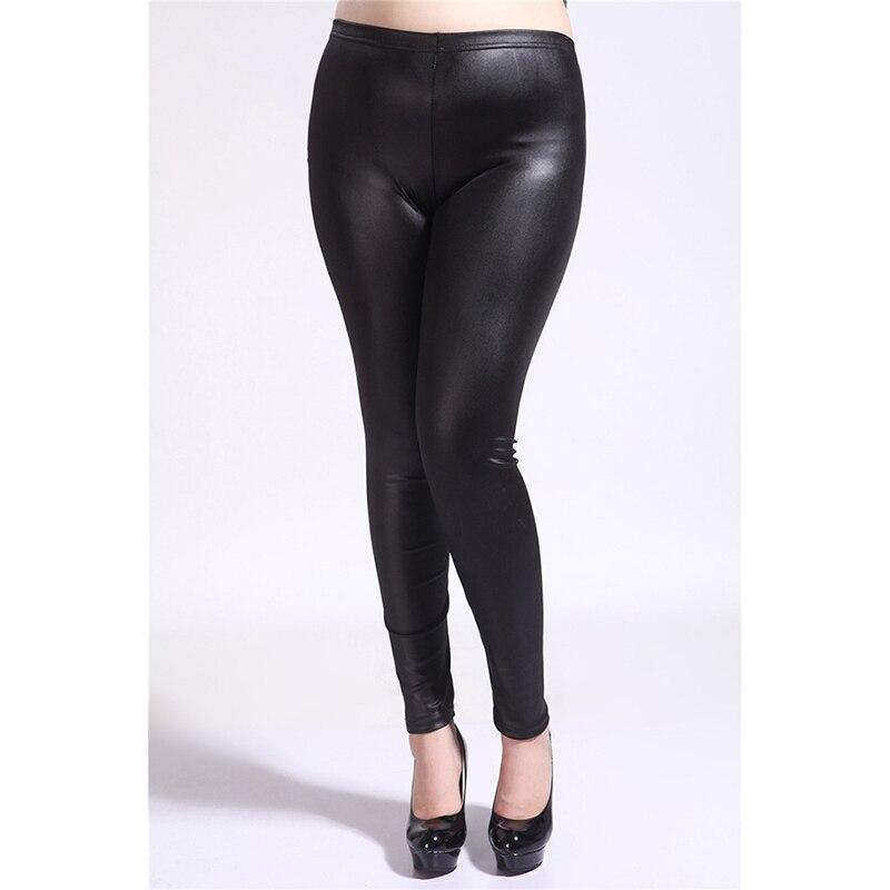 Mujer Leggins Fashion Women Casaul Slim Plus Size PU Leather Pants High Elastic Waist Leggings