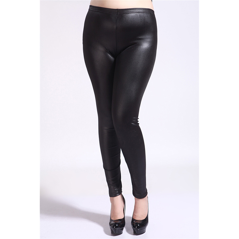 Mujer Leggins Fashion Women Casaul Slim Plus Size PU Leather Pants High Elastic Waist   Leggings
