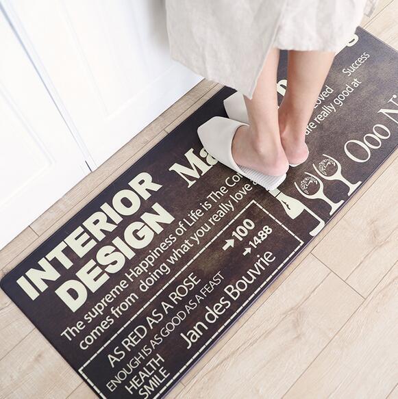 PU Leather Kitchen Bathroom Rug Anti-Fatigue Floor Mat Kitchen Mat Home Entrance/Hallway Doormat Anti-Slip Kitchen Carpet/Rug