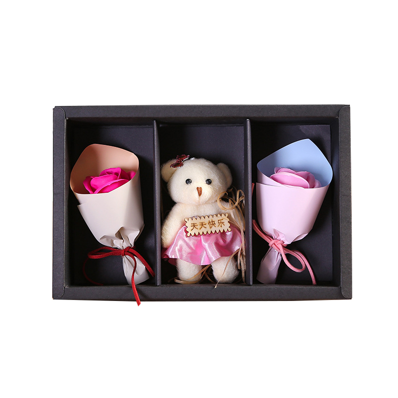 Flower Figurines Ornaments Gifts Rose Home-Decor Artificial Creative Bear Soap Furnishing