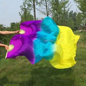 Image 5 - Nieuwe Collectie Hot Verkopen Rainbow Bellydance Zijde Fan Veils Hand Dye Levendige Licht Fan Sluier Pairs Gradiënt 120Cm 180cm Professionele
